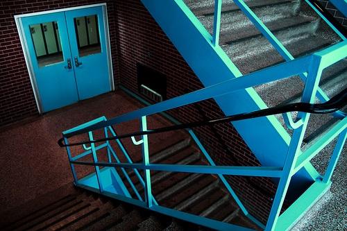 blue banister