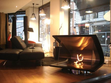 Boomerang Shaped Fireplace