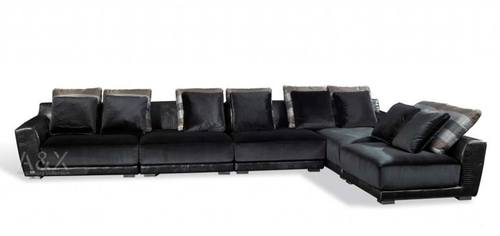 VIG Crocodile Leather Sectional-Sofa