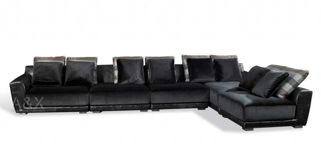 VIG Crocodile Leather Sectional-Sofa